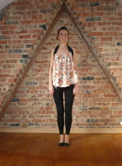 Vintage silk top shown as halter neck