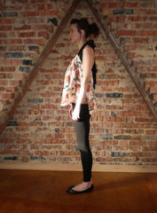 Vintage silk top shown as halter neck side view